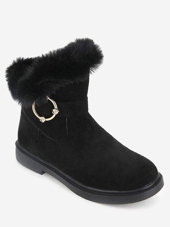 Cheap Faux Fur Studs Embellished Mid Calf Boots