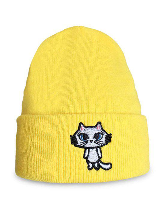 Chic Cartoon Cat Embroidery Flanging Beanie