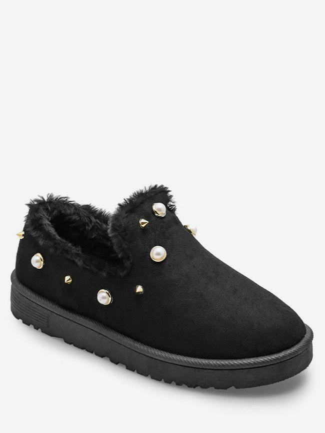 Latest Faux Pearl Winter Loafer Flats