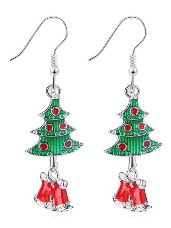Fashion Christmas Tree Rhinestone Design Hook Earrings