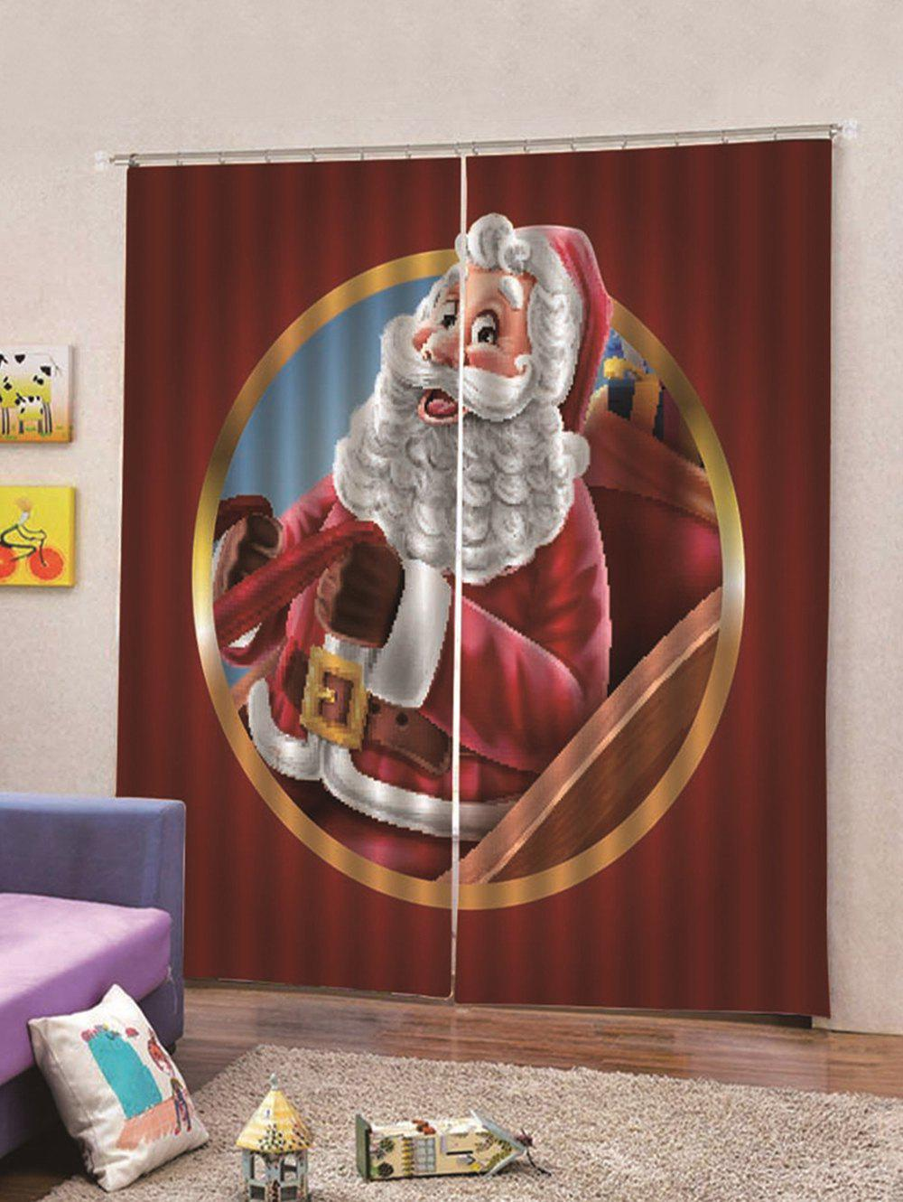 Affordable 2PCS Santa Claus Pattern Waterproof Window Curtains