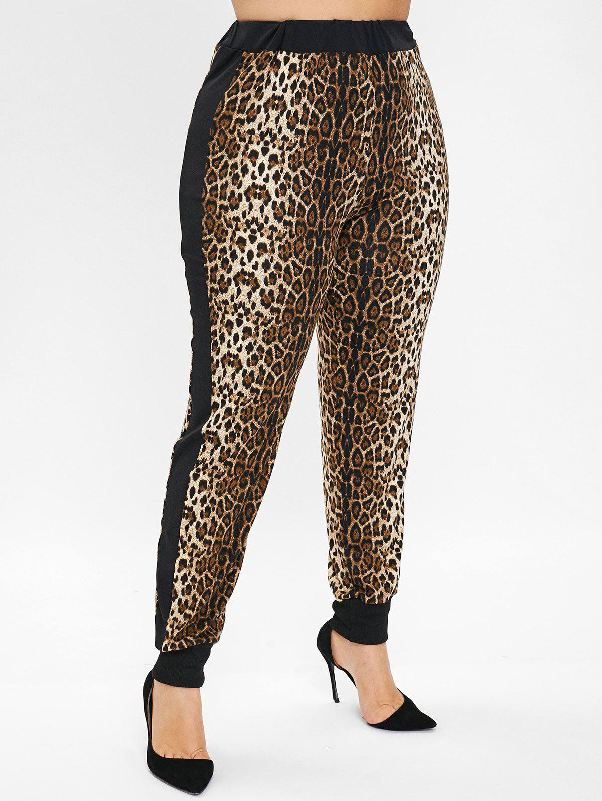 Outfit Plus Size High Waisted Leopard Jogger Pants