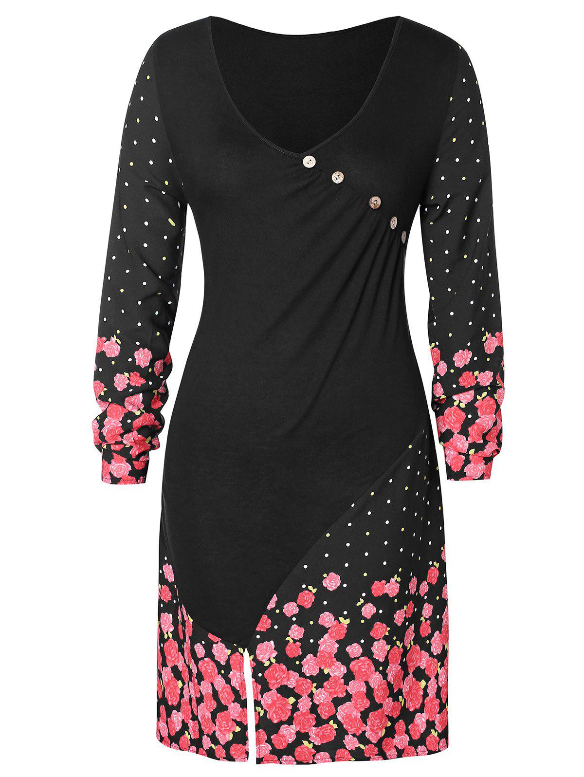 Fancy Floral Print Buttons Front Slit Plus Size Dress