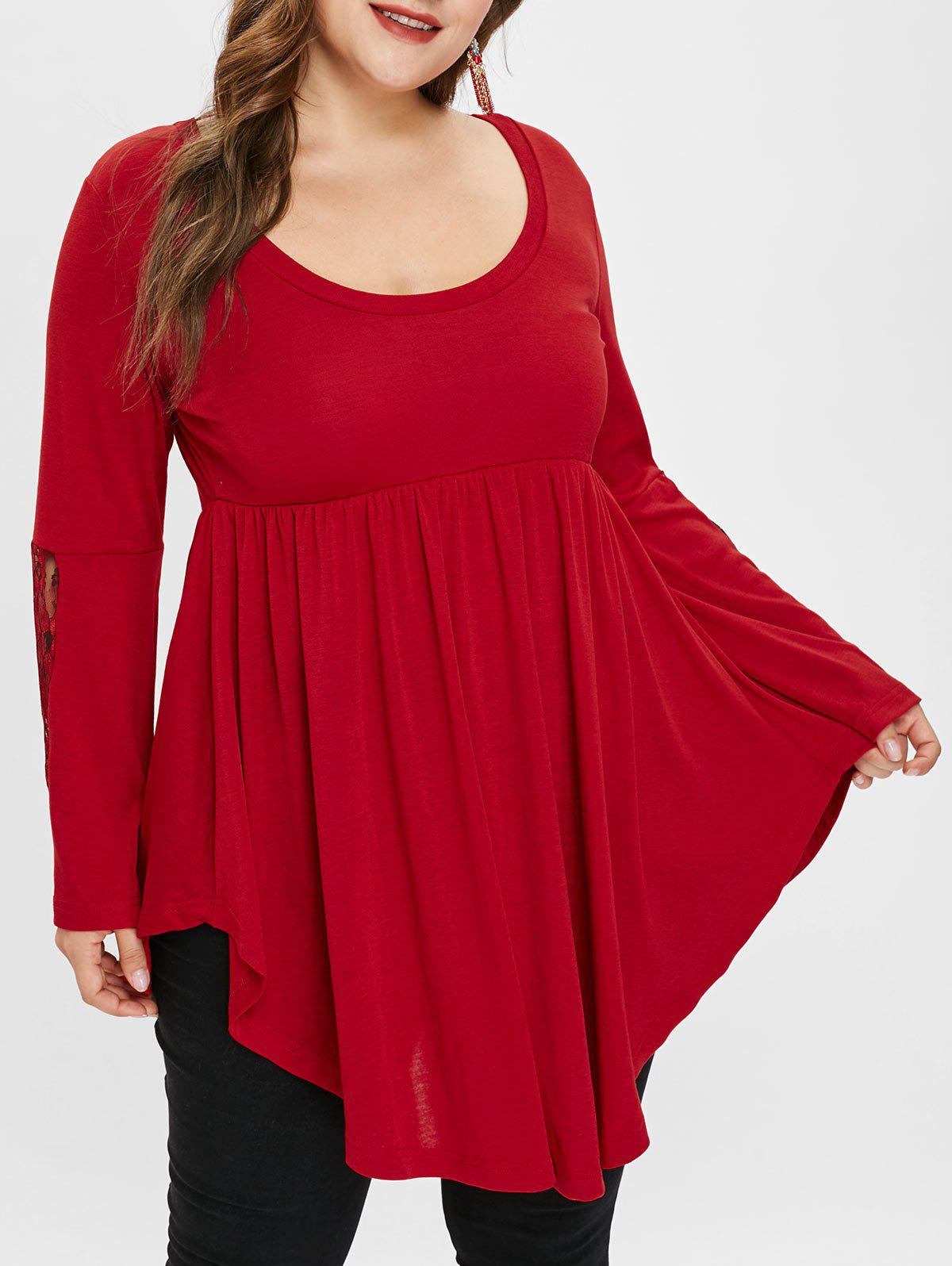 Plus Size Asymmetric Flare Sleeves Tee with Lace
