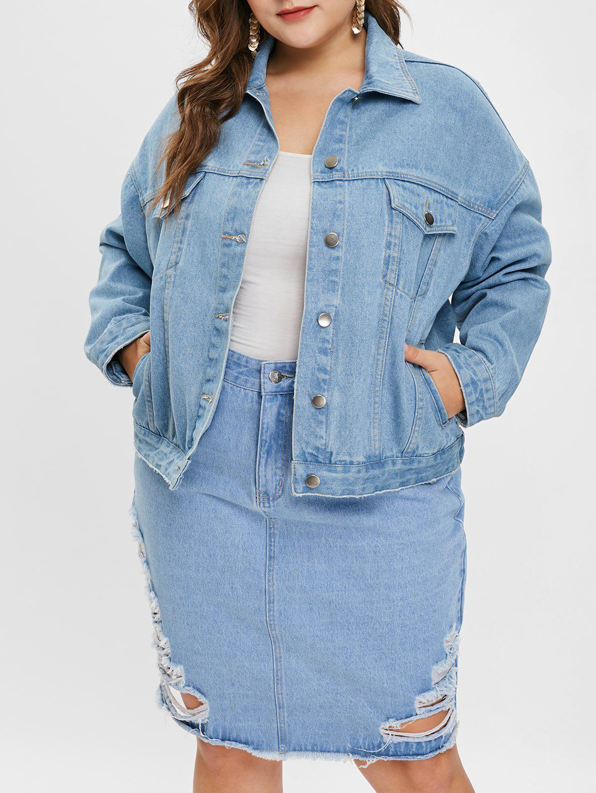 Fancy Plus Size Drop Shoulder Denim Jacket