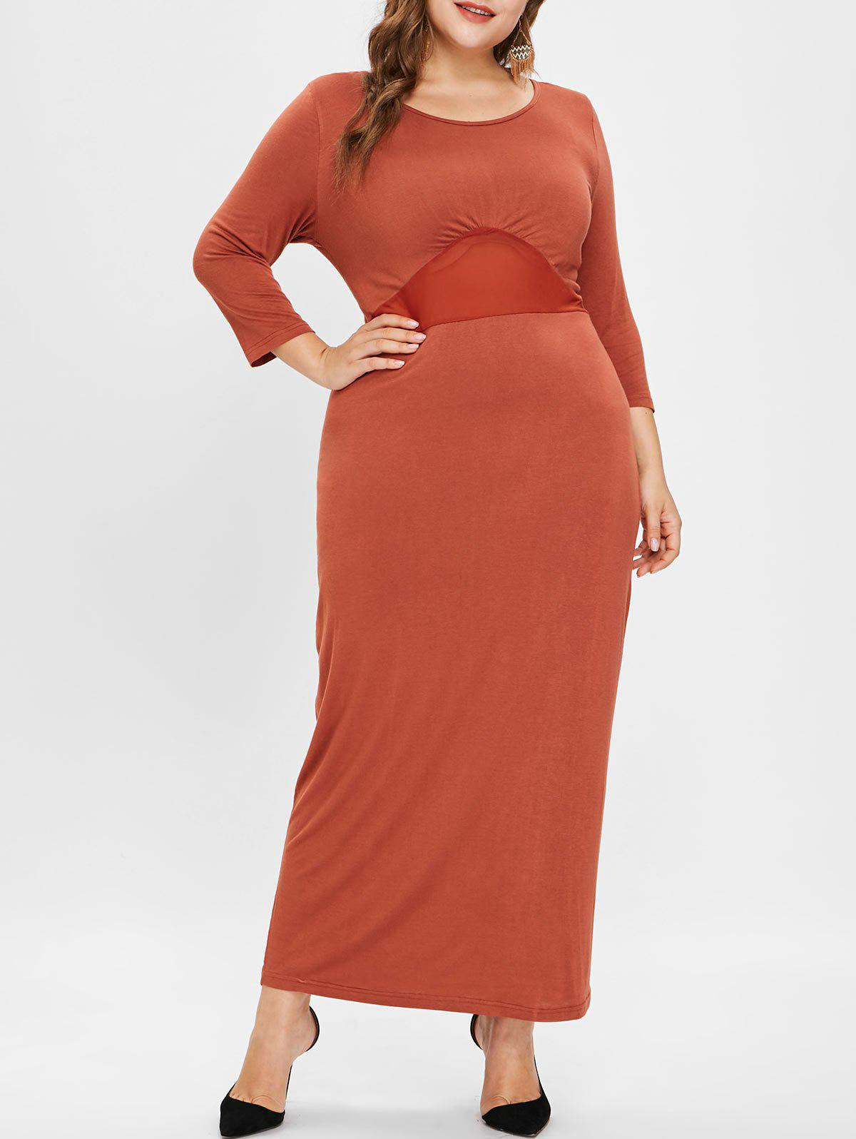 Store See Through Plus Size Lace Panel Maxi Dress