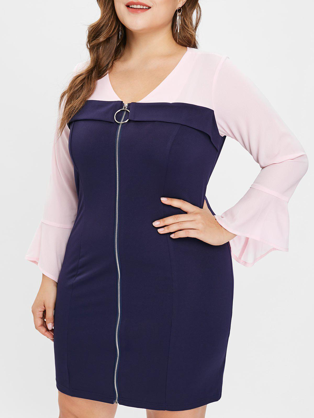 Hot Plus Size Contrast Bodycon Dress with Zipper Fly