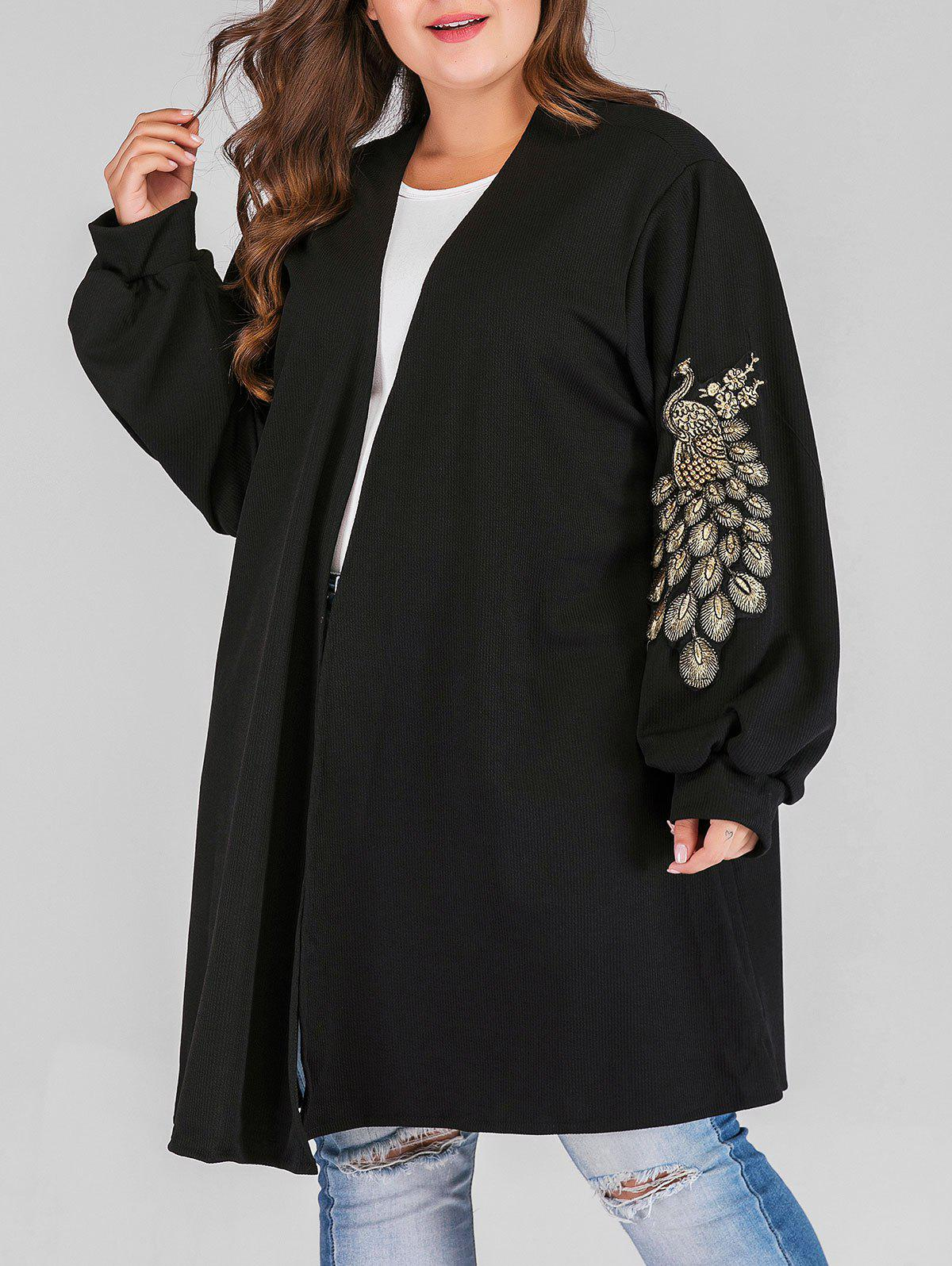 Store Plus Size Open Front Beading Peacock Pattern Coat