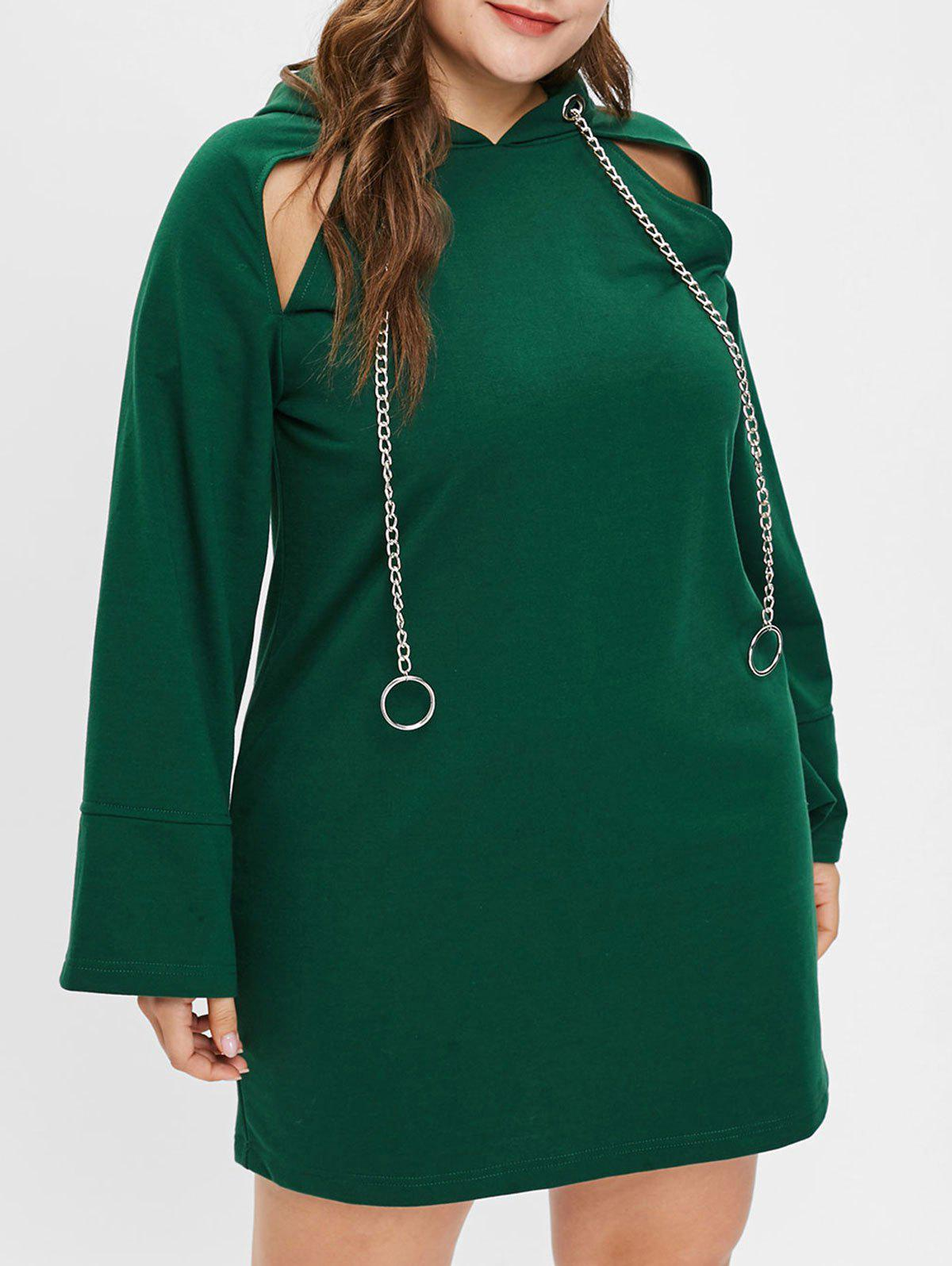 Unique Plus Size Cut Out Hooded Mini Dress