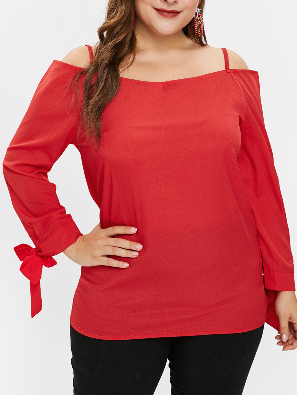 Fashion Plus Size Cold Shoulder Tunic Top with Ties
