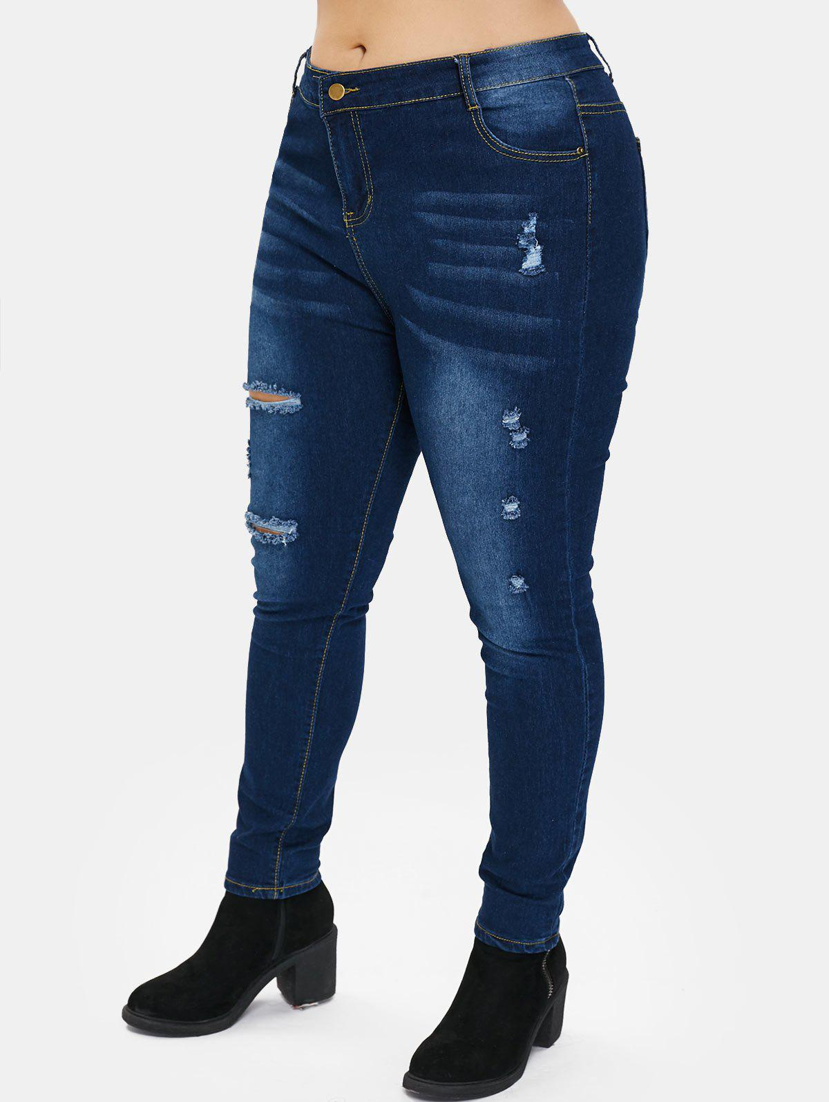 Buy Plus Size Zipper Fly Jeans with Hole