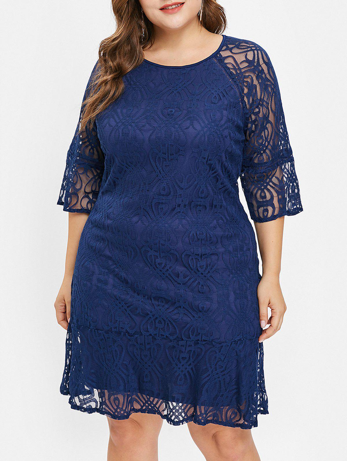 Discount Flare Sleeve Plus Size Lace Dress