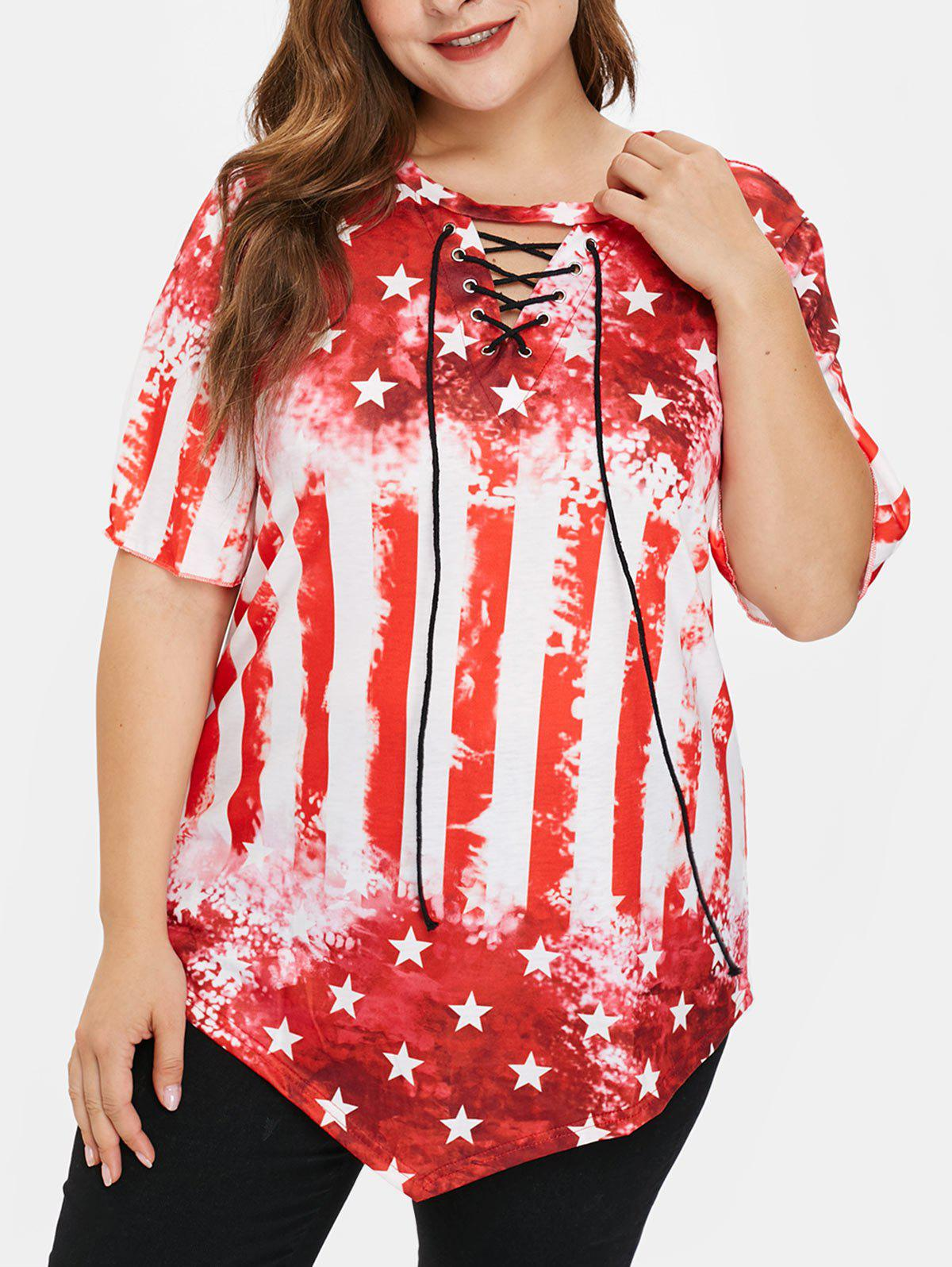Discount Plus Size American Flag Tee with Lace Up