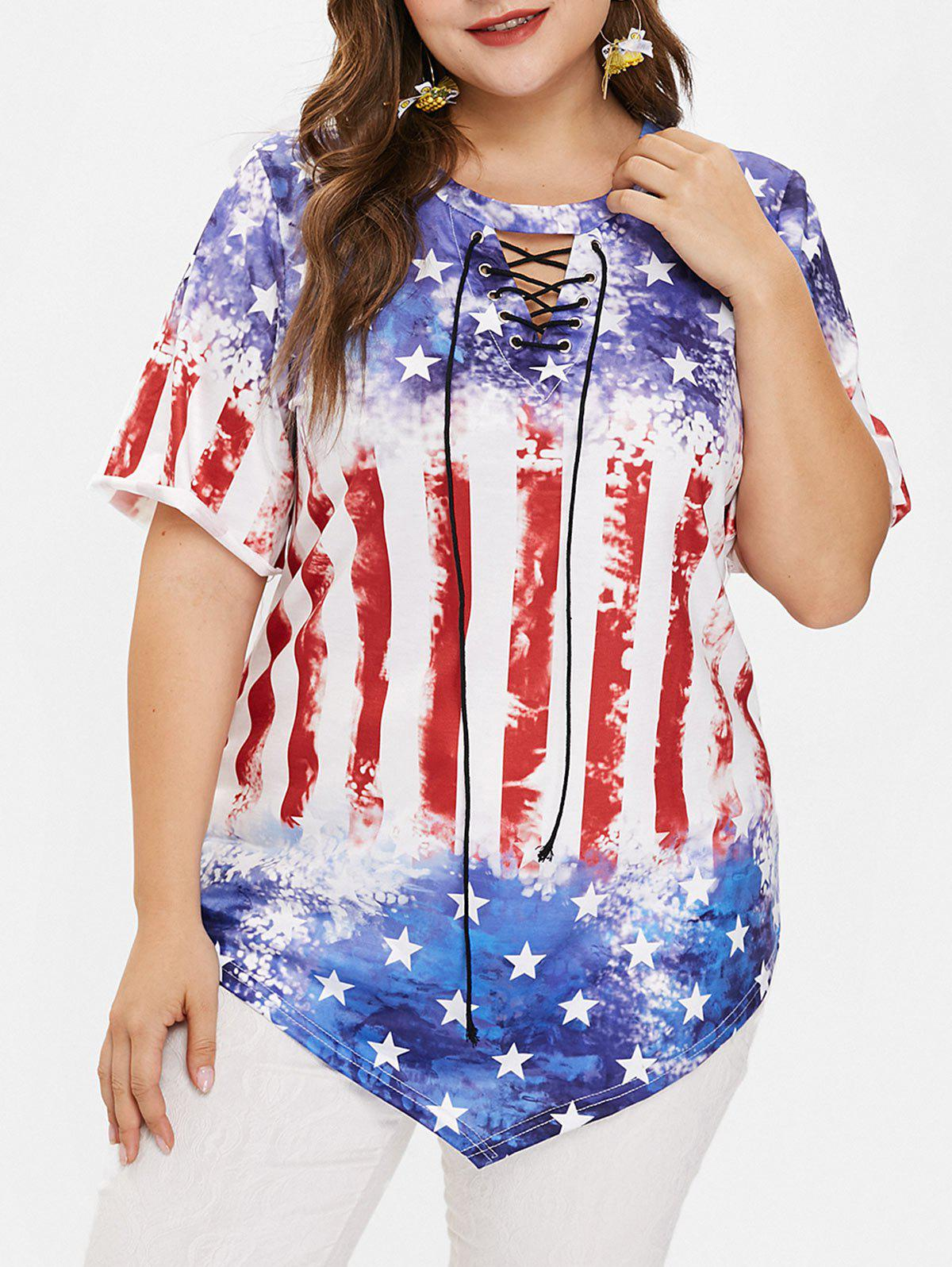 Affordable Plus Size American Flag Tee with Lace Up