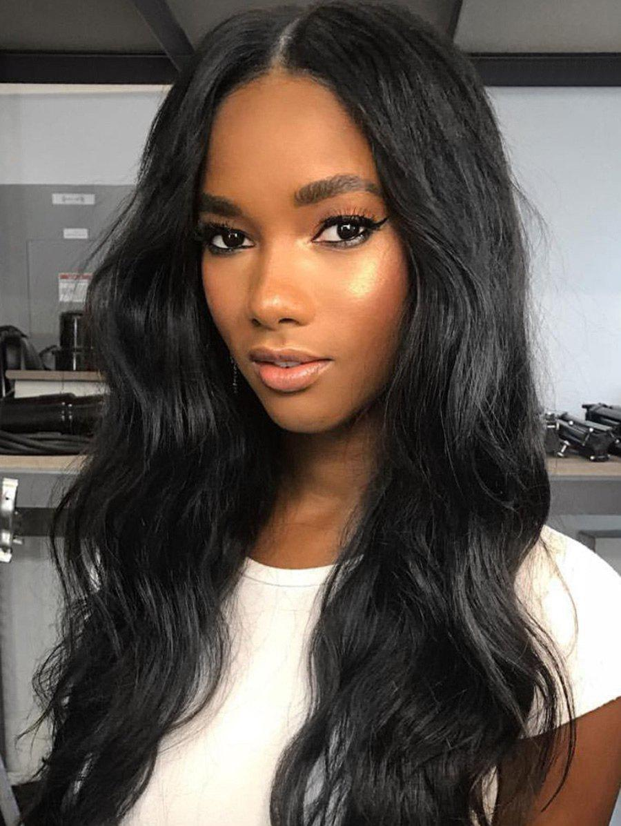 41% OFF Middle Part Long Wavy Capless Human Hair Wig ...
