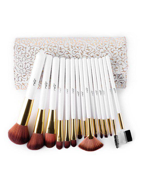 Shops 15 Pcs Soft Fiber Hair Eyeshadow Blush Powder Eyebrow Brush Set with Brush Case