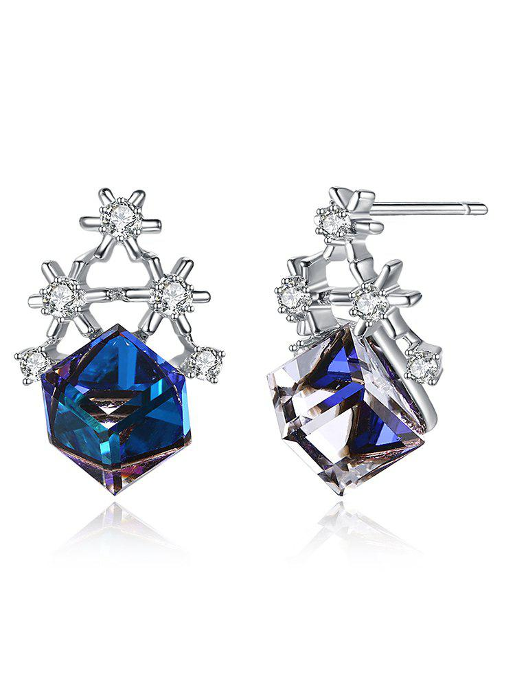 Outfits Sliver Block Christmas Faux Crystal Earrings
