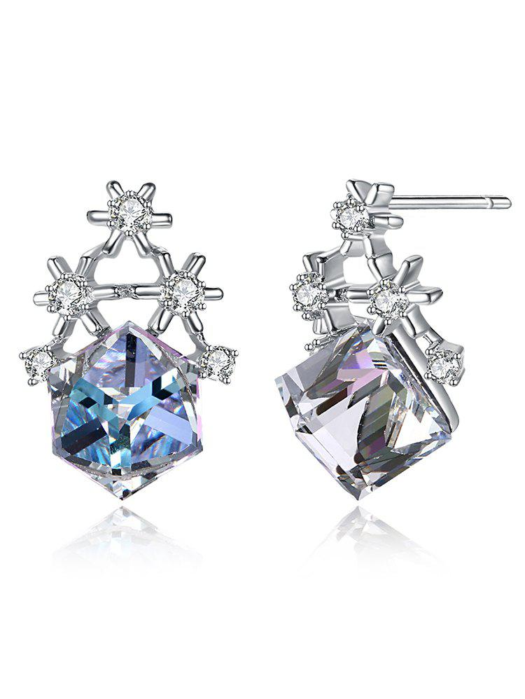 Latest Sliver Block Christmas Faux Crystal Earrings