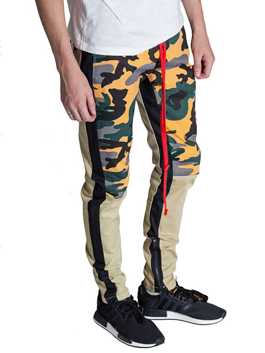 Hot Color Block Hem Zipper Camo Patchwork Track Pants