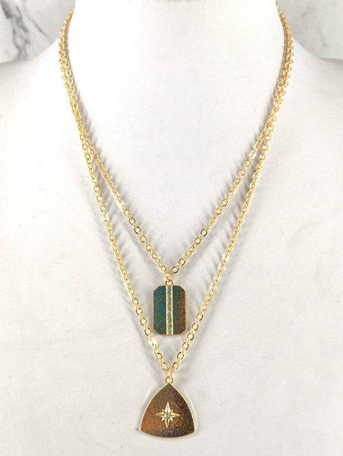Sale Geometric Triangle Shape Double Layered Necklace