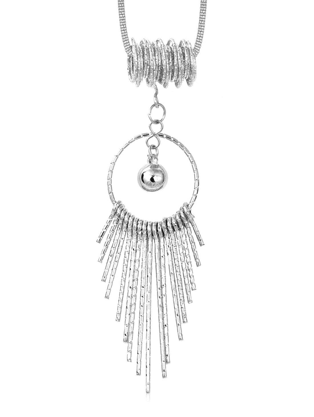 Trendy Hollow Round Shape Tassel Long Alloy Necklace