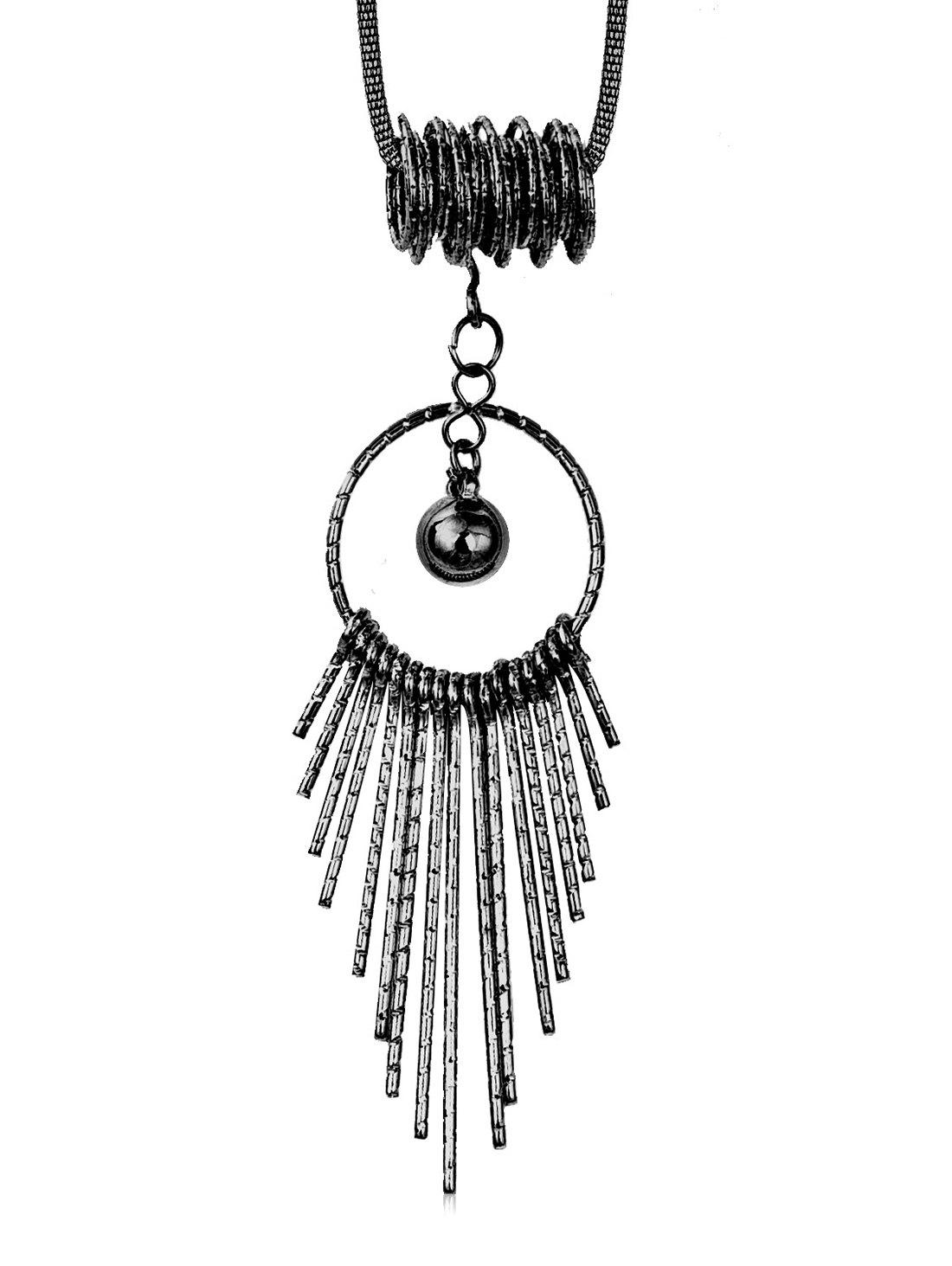 Cheap Hollow Round Shape Tassel Long Alloy Necklace