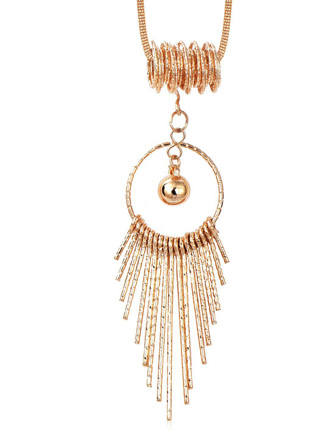 Store Hollow Round Shape Tassel Long Alloy Necklace