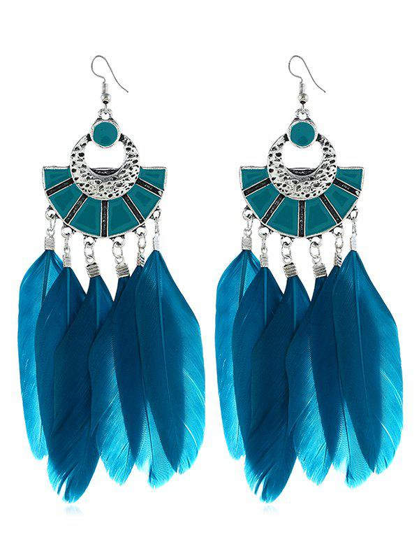 Outfits Bohemian Fan Shape Feather Tassel Earrings