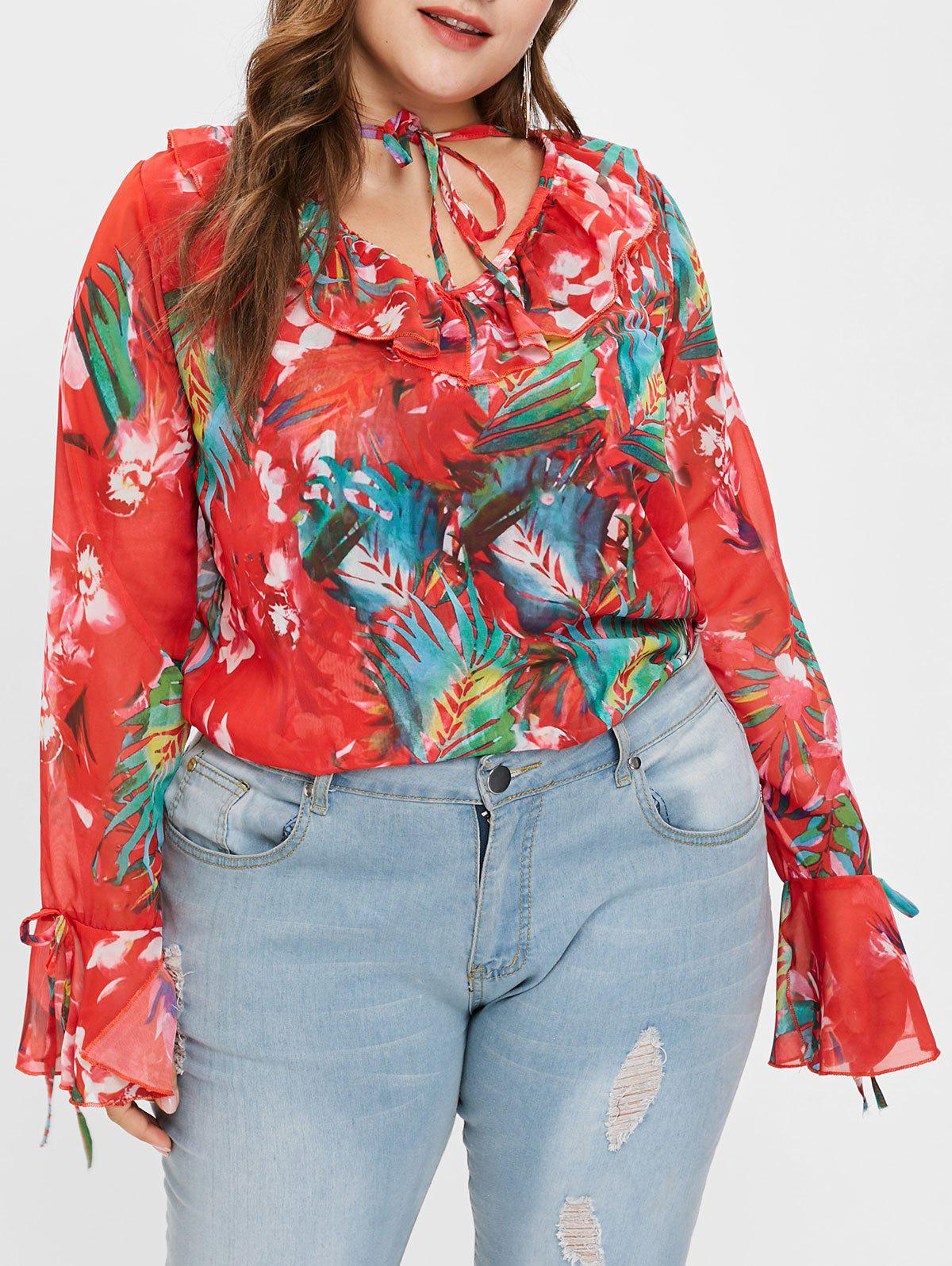 Store Flare Sleeve Floral Print Plus Size Blouse