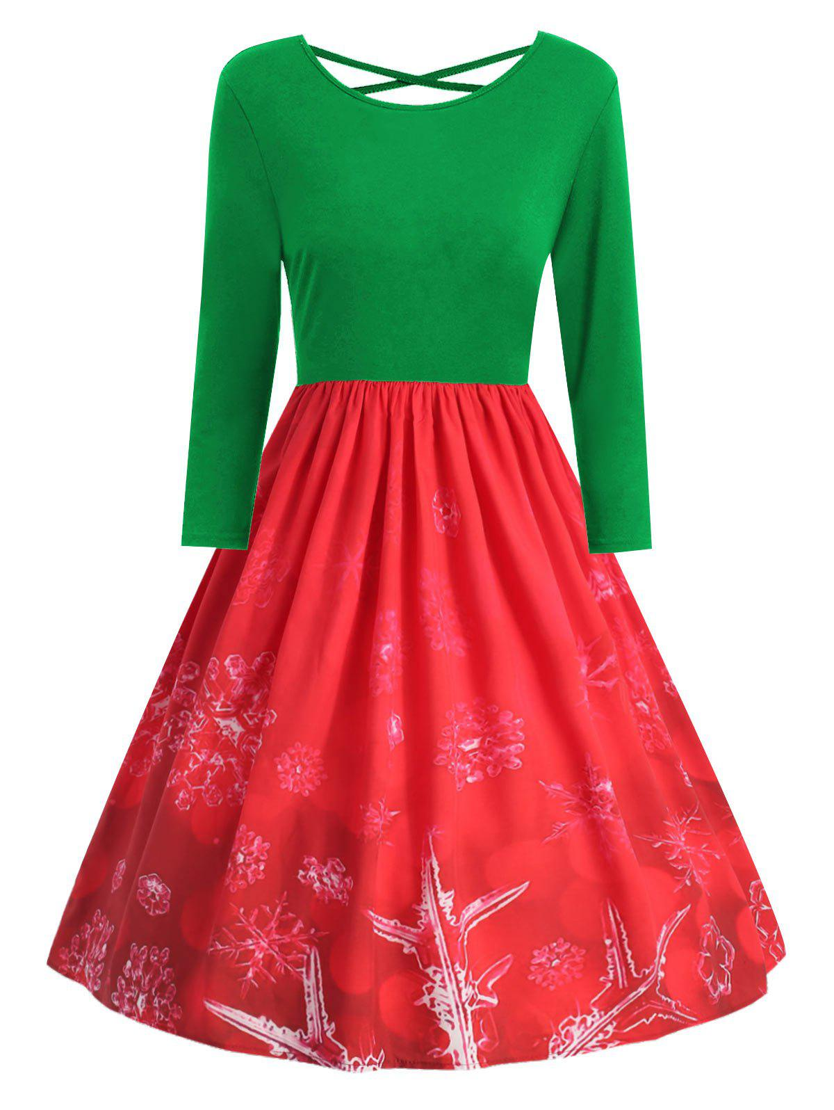 Buy Plus Size Snowflake Print Christmas Dress with Criss Cross