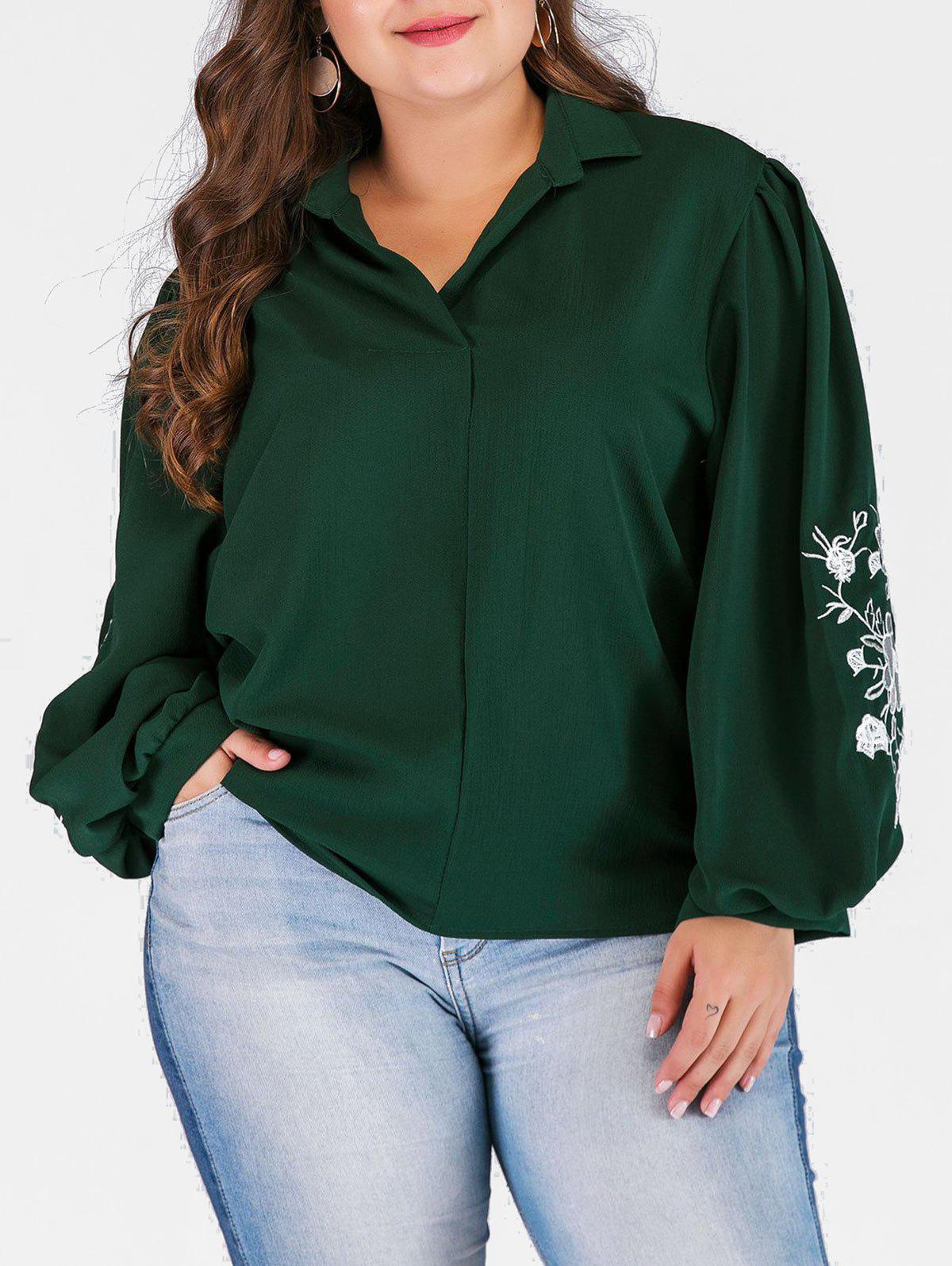 Shops Plus Size High Low Blouse with Floral Embroidered