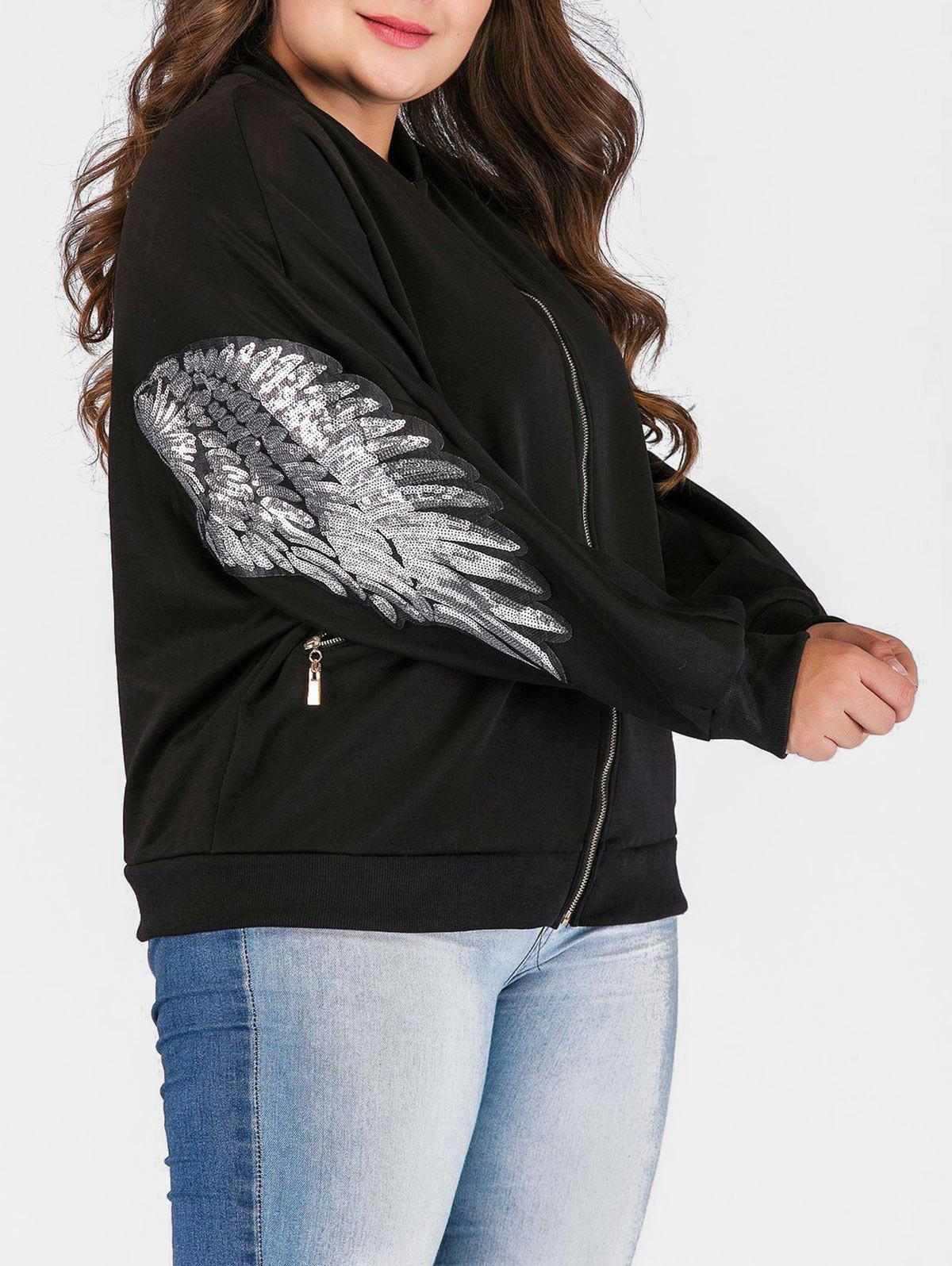 Affordable Plus Size Zipper Fly Jacket with Sequines
