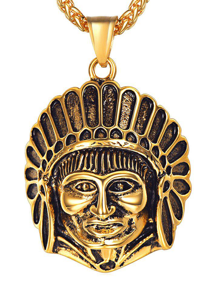 Latest Stainless Steel Indian Head Engraved Necklace