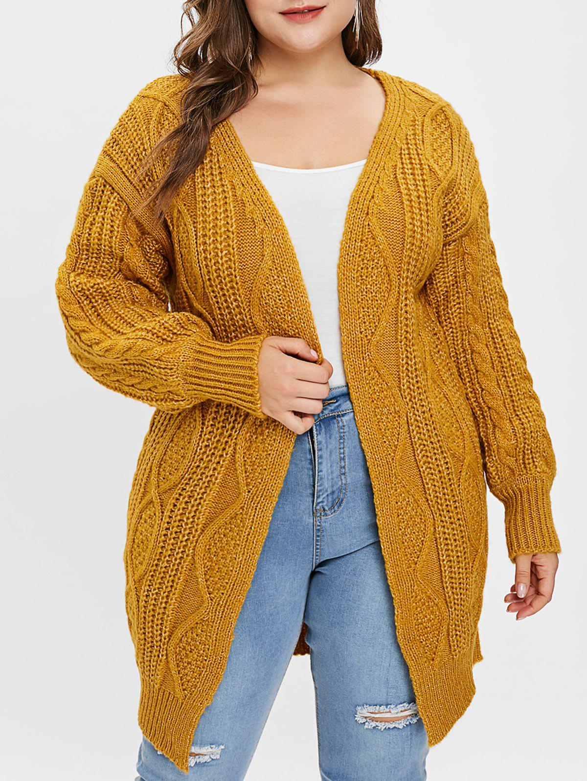 16fef9be662b48 55% OFF] Cable Knit Plus Size Open Front Longline Cardigan | Rosegal