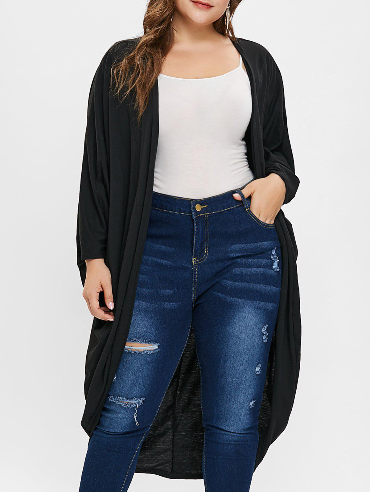 Latest Plus Size Open Front Collarless Longline Coat