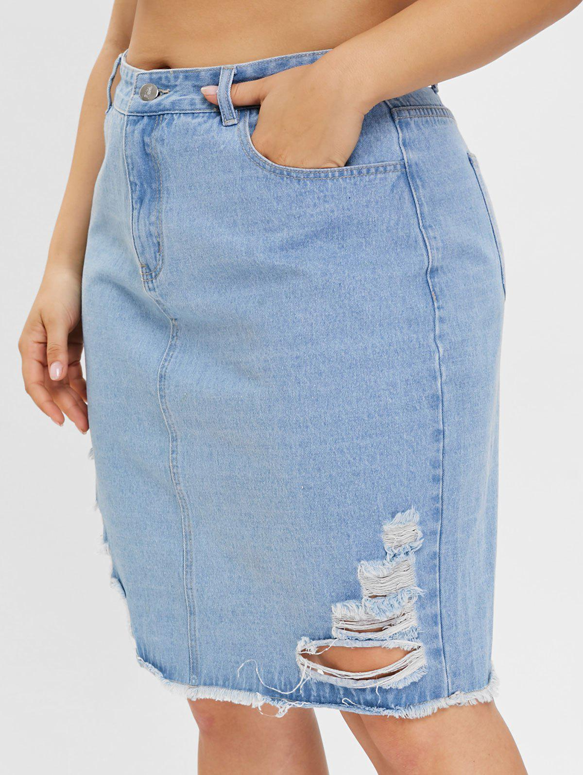 Discount Plus Size Denim Skirt with Ripped