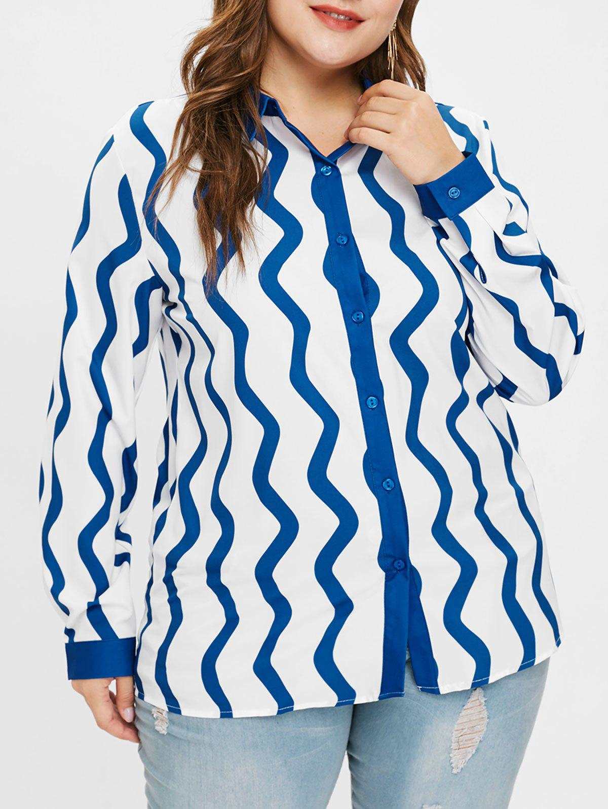 Outfit Wave Print Plus Size Shirt