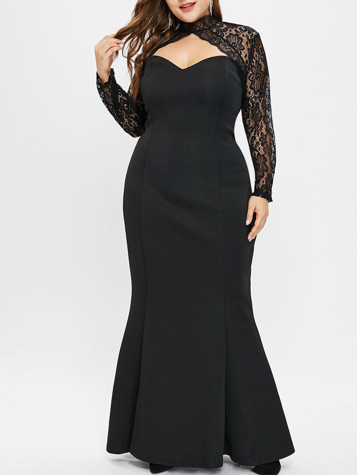 Store Cut Out Plus Size Lace Panel Mermaid Dress