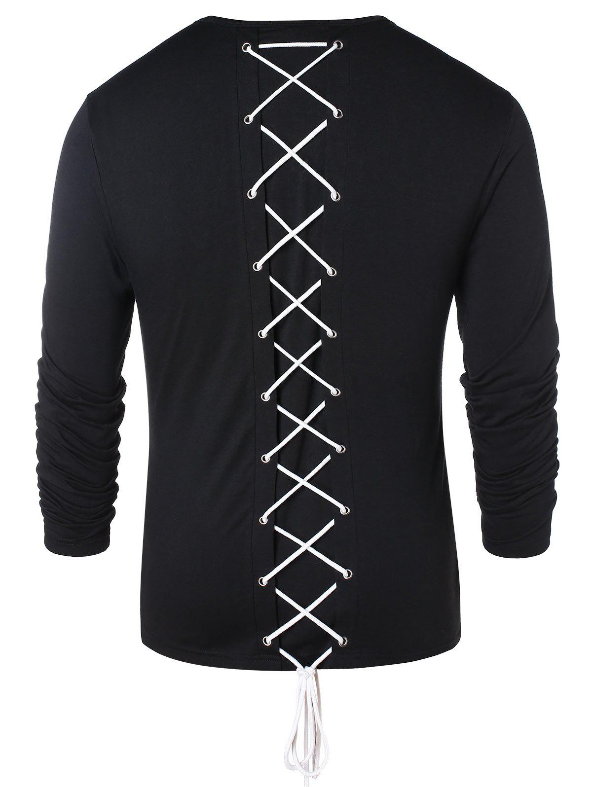 Latest Long Sleeve Lace Up Casual T-shirt