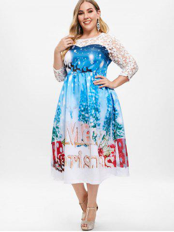 Plus Size Sheer Lace Christmas Ball Gown Dress