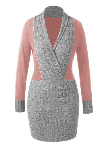 Plus Size Shawl Collar Contrast Knitted Bodycon Dress