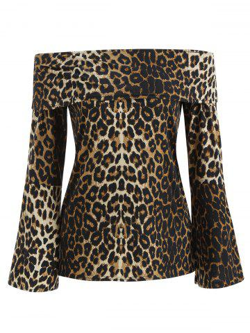 Off The Shoulder Leopard Print Blouse