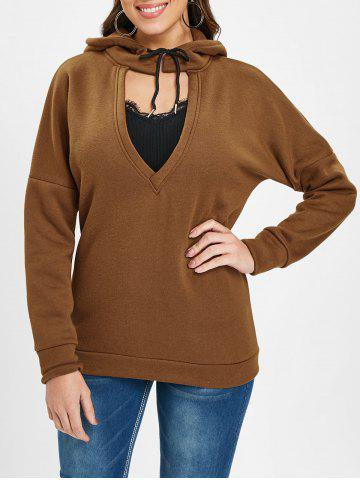 Low V Neck Cut Out Hoodie - BROWN - 2XL