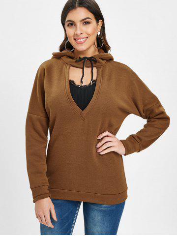 Low V Neck Cut Out Hoodie