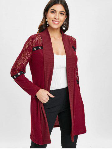 Lace Panel Open Front Cardigan
