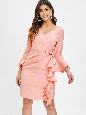 Flare Sleeve Bowknot Ruffle Dress