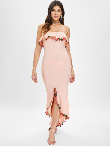 Embroidered Trim Tube Long Mermaid Dress