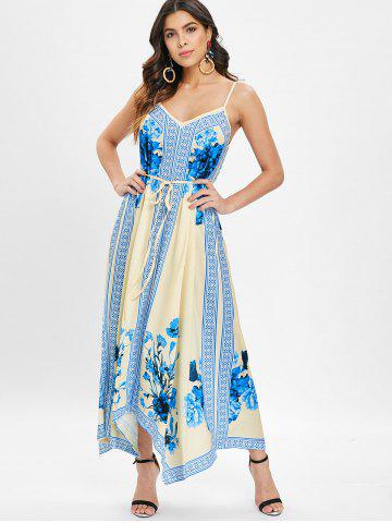 Ethnic Print Asymmetrical Maxi Dress