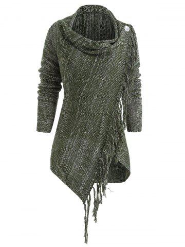 Asymmetrical Fringed Hem Cardigan