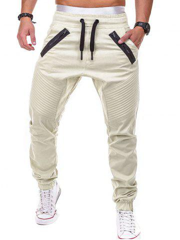 Faux Back Pocket Zipper Decorated Jogger Pants